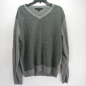 Tricots St Raphael Grey V-neck Chevron Sweater XL
